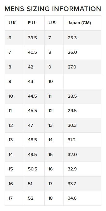 Teva Men Size Chart
