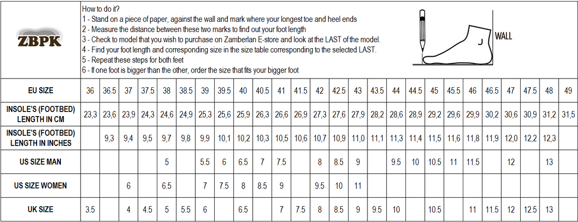 Размерная таблица обуви Zamberlan